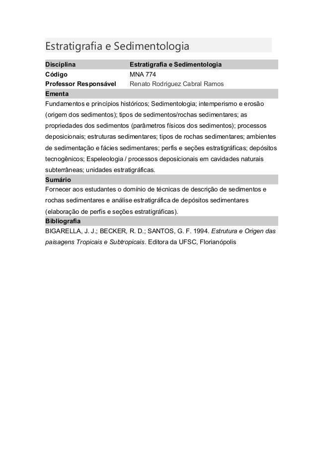 Estratigrafia e Sedimentologia Disciplina Estratigrafia e Sedimentologia Código MNA 774 Professor Responsável Renato Rodri...