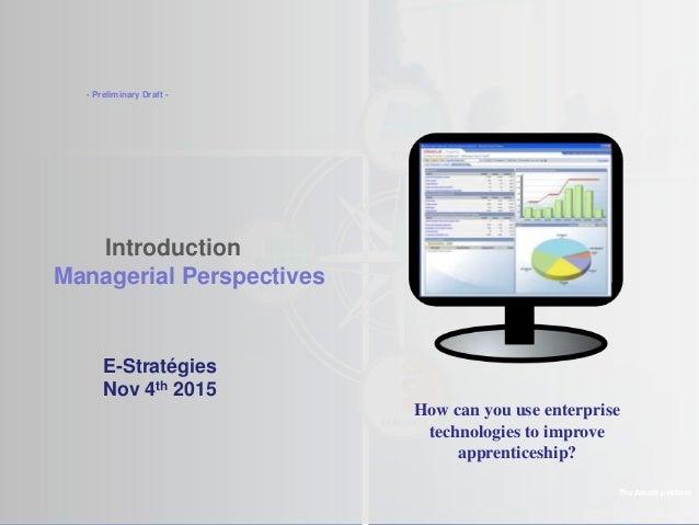 ©2013 LHST sarl Introduction Managerial Perspectives The Amaté platform E-Stratégies Nov 4th 2015 - Preliminary Draft - Ho...
