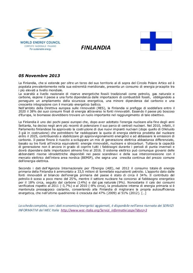 Estratto Scheda Paese Finlandia