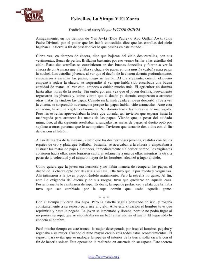Las                        Estrellas, La Simpa Y El Zorro                      Tradición oral recogida por VICTOR OCHOA  A...