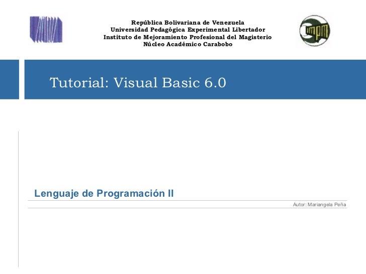 Lenguaje de Programación II República Bolivariana de Venezuela ...