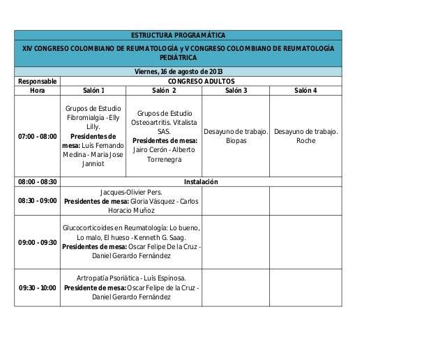 ESTRUCTURA PROGRAMÁTICA XIV CONGRESO COLOMBIANO DE REUMATOLOGÍA y V CONGRESO COLOMBIANO DE REUMATOLOGÍA                   ...