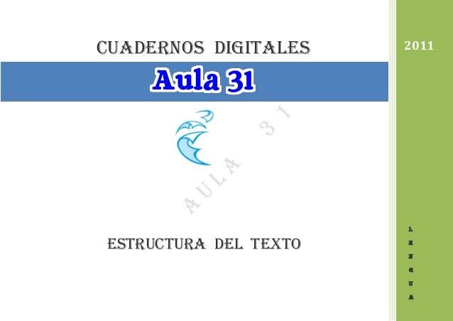 cuadernos DIGITALES Estructura del texto 2011 L E N G U A