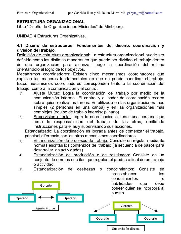 Estructura Organizacional     por Gabriela Hutt y M. Belen Marmiroli gabyta_rc@hotmail.comESTRUCTURA ORGANIZACIONAL.Libro ...