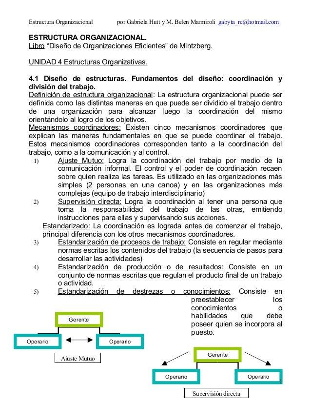 Gerente Operario Operario Supervisión directa Gerente Operario Operario Ajuste Mutuo Estructura Organizacional por Gabriel...