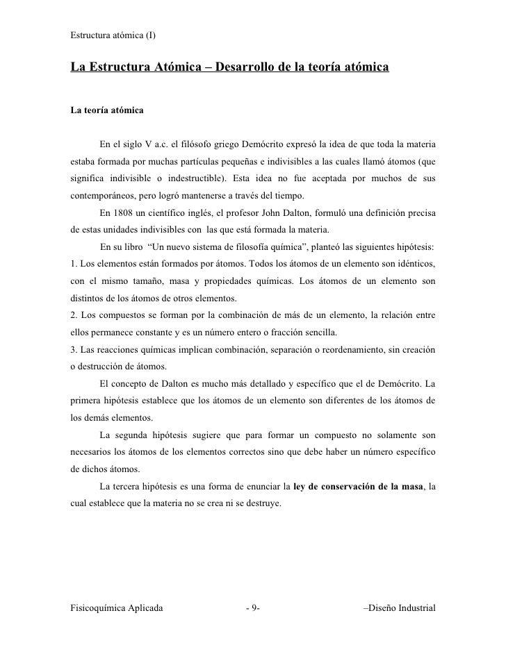 Estructura atómica (I)   La Estructura Atómica – Desarrollo de la teoría atómica   La teoría atómica          En el siglo ...