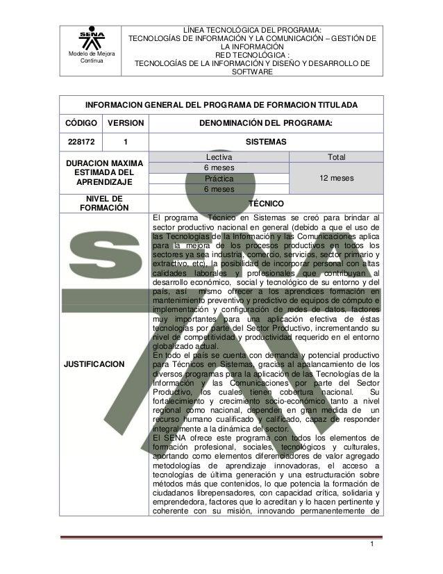 Modelo de MejoraContinuaLÍNEA TECNOLÓGICA DEL PROGRAMA:TECNOLOGÍAS DE INFORMACIÓN Y LA COMUNICACIÓN – GESTIÓN DELA INFORMA...
