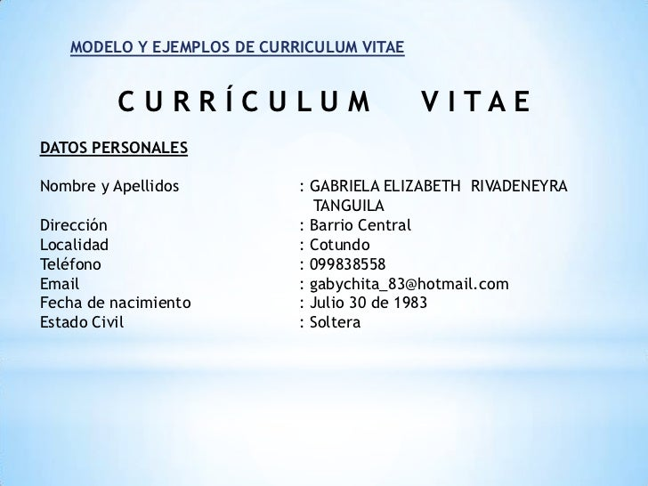 datos personales para un curriculum vitae