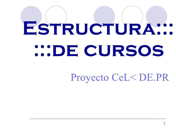 Estructura::: :::de cursos  Proyecto CeL< DE.PR