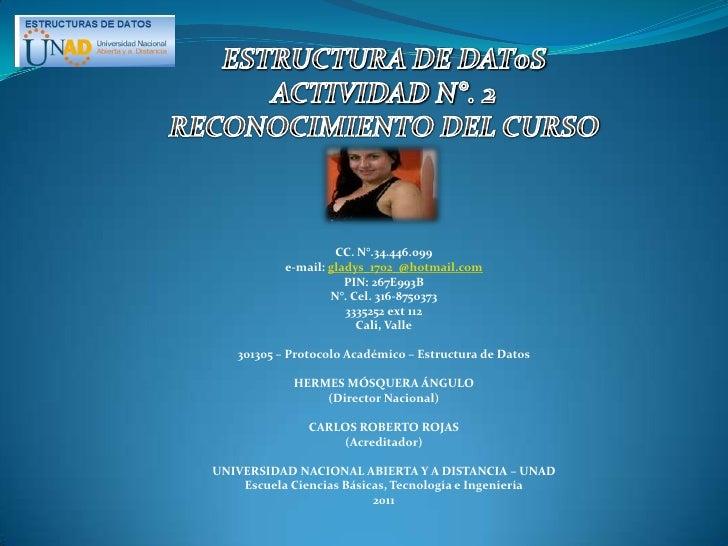 ESTRUCTURA DE DAT0S<br />ACTIVIDAD N°. 2<br />RECONOCIMIENTO DEL CURSO<br />CC. N°.34.446.099<br />e-mail: gladys_1702_@ho...