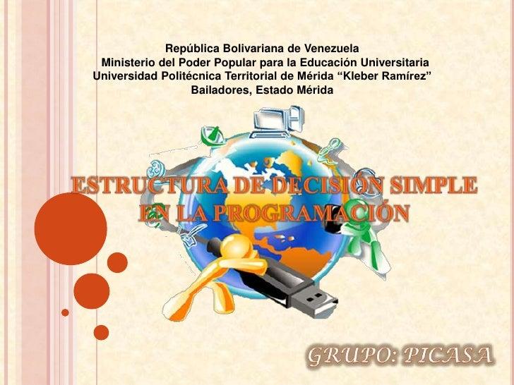 República Bolivariana de Venezuela Ministerio del Poder Popular para la Educación UniversitariaUniversidad Politécnica Ter...