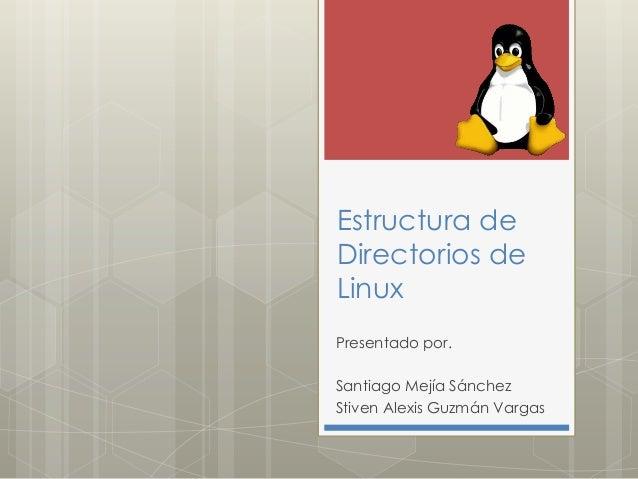 Estructura deDirectorios deLinuxPresentado por.Santiago Mejía SánchezStiven Alexis Guzmán Vargas