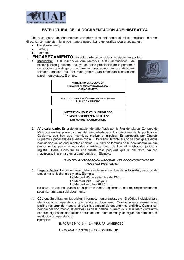 Estructura  de la documentación administrativa 14
