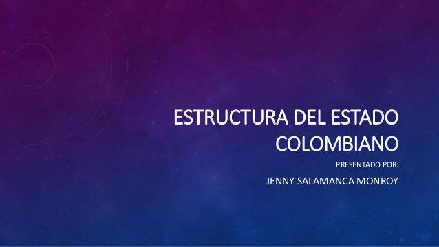 ESTRUCTURA DEL ESTADO COLOMBIANO PRESENTADO POR: JENNY SALAMANCA MONROY