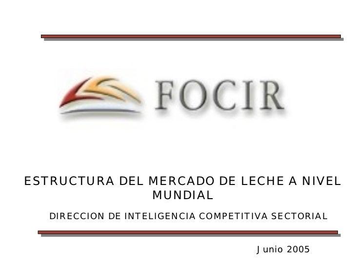 ESTRUCTURA DEL MERCADO DE LECHE A NIVEL               MUNDIAL   DIRECCION DE INTELIGENCIA COMPETITIVA SECTORIAL           ...