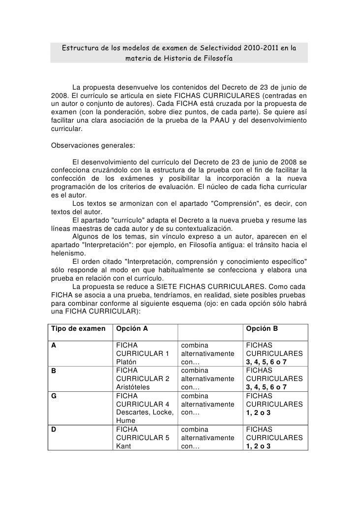 Estructura de los modelos de examen de Selectividad 2010-2011 en la                        materia de Historia de Filosofí...