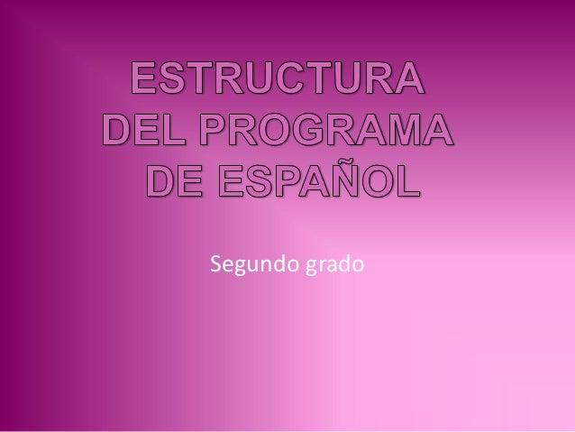 Estructura del programa de español 2°