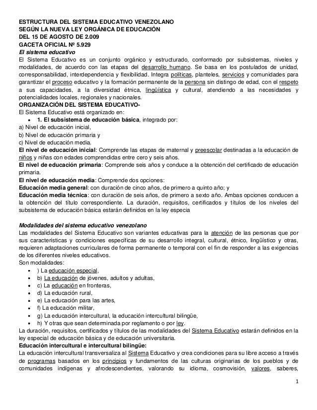 ESTRUCTURA DEL SISTEMA EDUCATIVO VENEZOLANOSEGÚN LA NUEVA LEY ORGÁNICA DE EDUCACIÓNDEL 15 DE AGOSTO DE 2.009GACETA OFICIAL...
