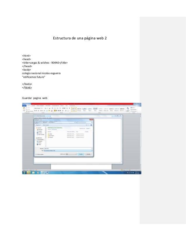 Estructura de una página web 2<html><head><title>vargas & wilches - 904NE</title></head><body>colegio nacional nicolas esg...