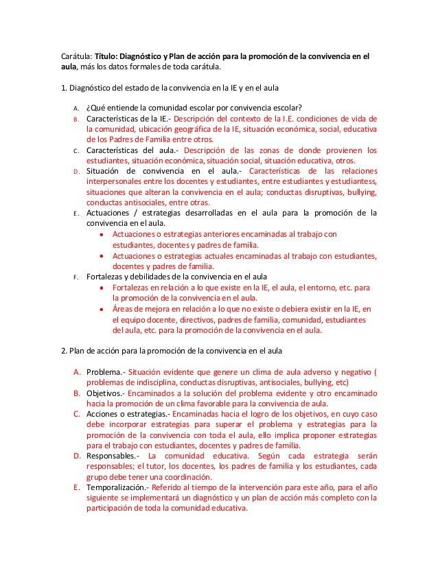 Carátula: Título: Diagnóstico y Plan de acción para la promoción de la convivencia en el aula, más los datos formales de t...