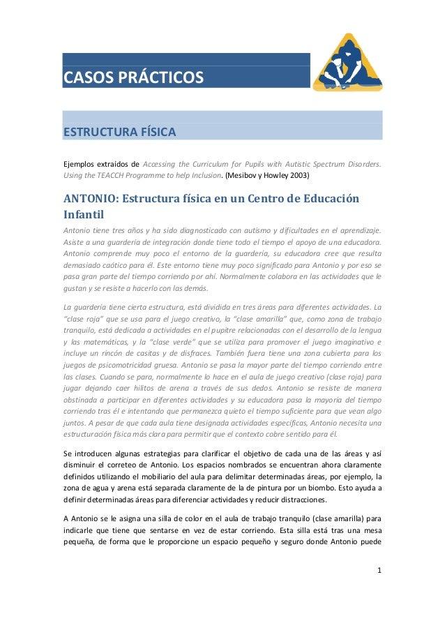 CASOSPRÁCTICOSESTRUCTURAFÍSICAEjemplos extraídos de Accessing the Curriculum for Pupils with Autistic S...