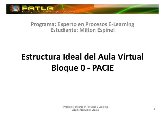 Programa: Experto en Procesos E-Learning         Estudiante: Milton EspinelEstructura Ideal del Aula Virtual        Bloque...