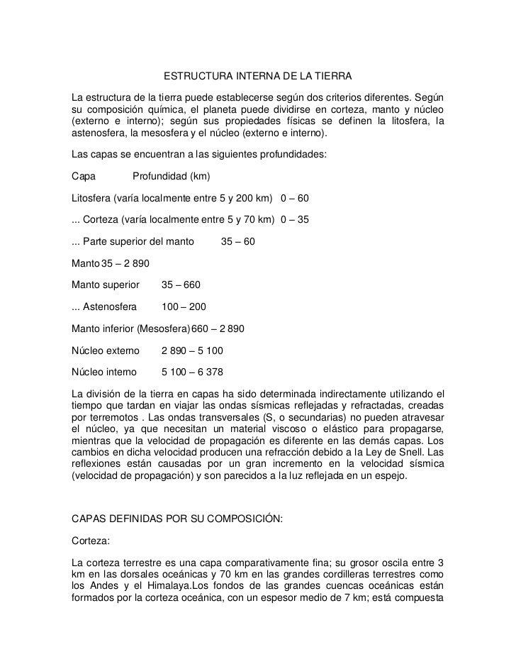 ESTRUCTURA INTERNA DE LA TIERRA<br />La estructura de la tierra puede establecerse según dos criterios diferentes. Según s...