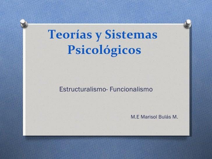 Teorías y Sistemas  Psicológicos Estructuralismo- Funcionalismo M.E Marisol Bulás M.