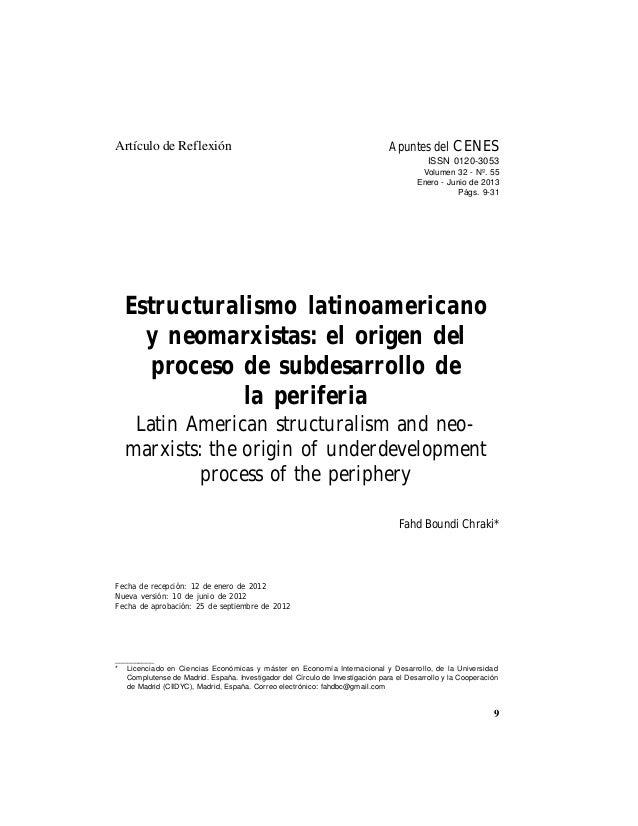 Estructuralismo latinoamericano y neomarxistas: el origen del proceso de subdesarrollo en la periferia