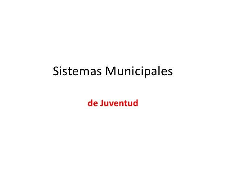 Sistemas Municipales     de Juventud