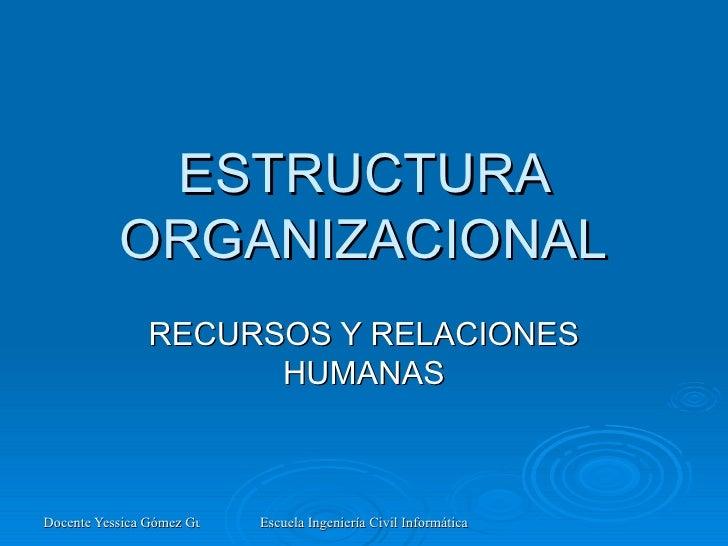 ESTRUCTURA ORGANIZACIONAL RECURSOS Y RELACIONES HUMANAS