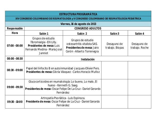 Estructura programática XIV Congreso Colombiano de Reumatología