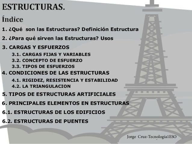 3. CARGAS Y ESFUERZOS 4.2. LA TRIANGULACION 4. CONDICIONES DE LAS ESTRUCTURAS 2. ¿Para qué sirven las Estructuras? Usos 5....