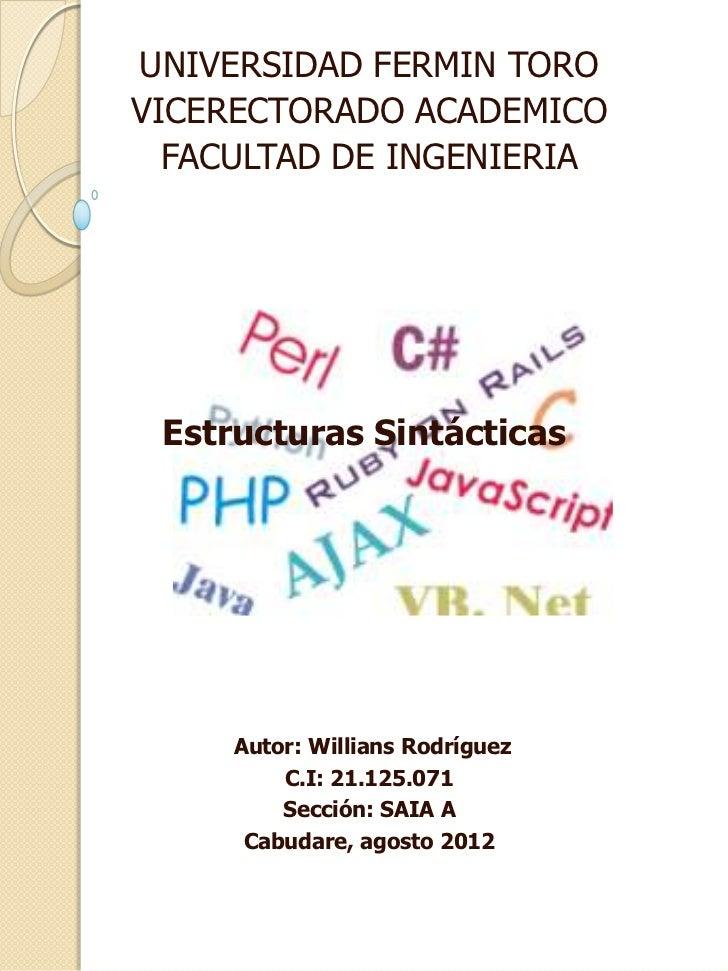 Estructura sintactica de los lenguajes de programacion y bases de datos