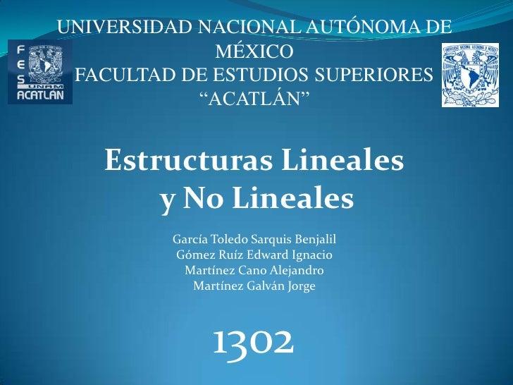 """UNIVERSIDAD NACIONAL AUTÓNOMA DE MÉXICO<br />FACULTAD DE ESTUDIOS SUPERIORES<br />""""ACATLÁN""""<br />Estructuras Lineales<br /..."""
