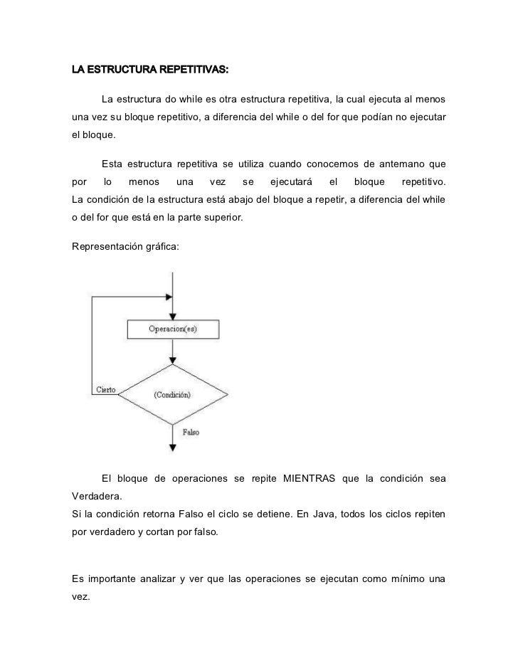 LA ESTRUCTURA REPETITIVAS:       La estructura do while es otra estructura repetitiva, la cual ejecuta al menosuna vez su ...