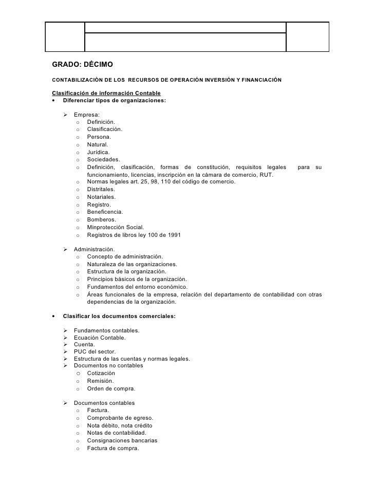 GRADO: DÉCIMO  CONTABILIZACIÒN DE LOS RECURSOS DE OPERACIÓN INVERSIÓN Y FINANCIACIÓN  Clasificación de información Contabl...