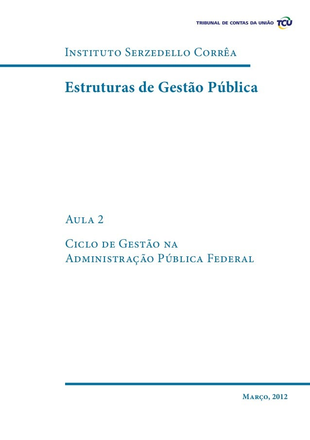 Instituto Serzedello Corrêa  Estruturas de Gestão Pública  Aula 2 Ciclo de Gestão na Administração Pública Federal  Março,...
