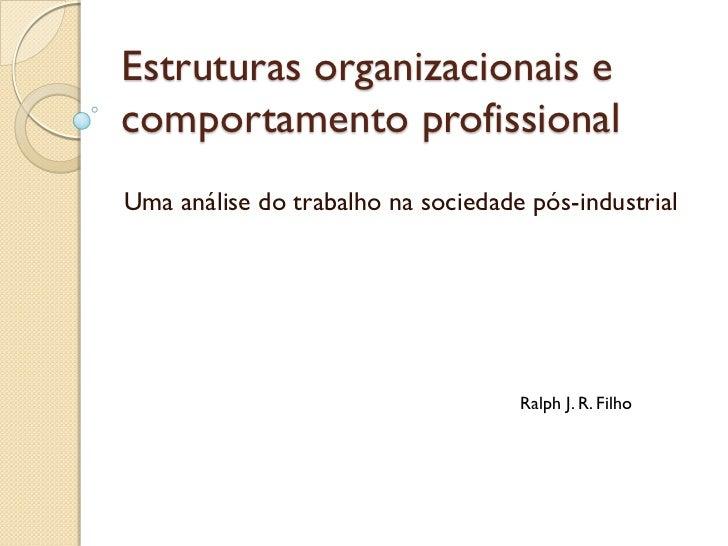Estruturas organizacionais ecomportamento profissionalUma análise do trabalho na sociedade pós-industrial                 ...