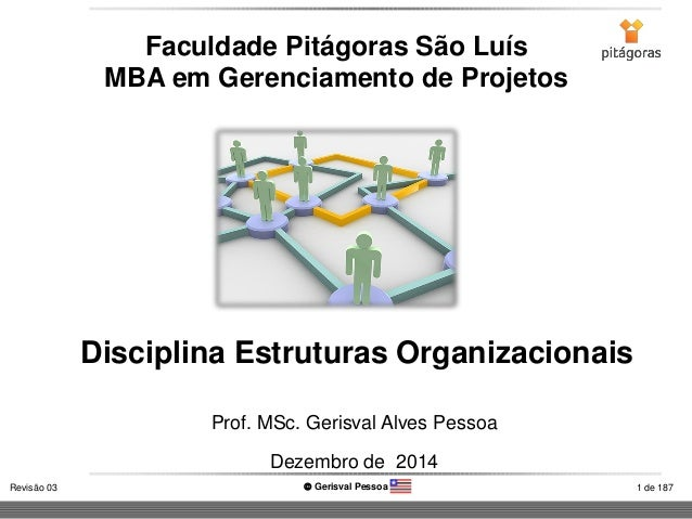 1 de 187Revisão 03  Gerisval Pessoa Disciplina Estruturas Organizacionais Faculdade Pitágoras São Luís MBA em Gerenciamen...