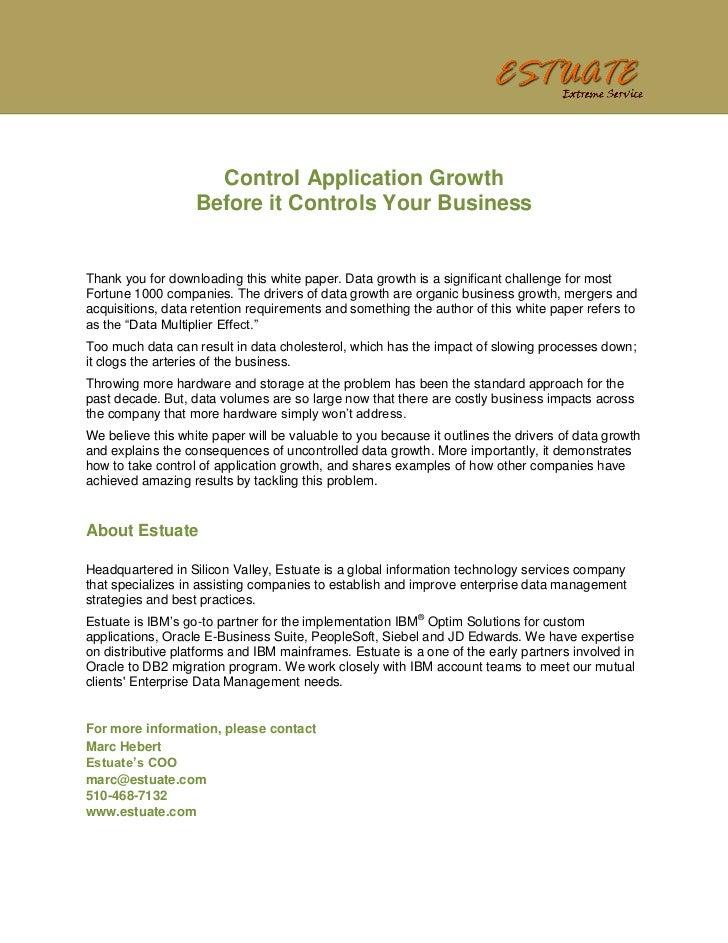 Estuate - Control Application Data Growth