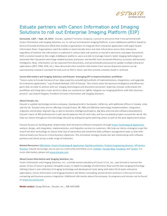 Estuate partners with Canon Information and Imaging Solutions to roll out Enterprise Imaging Platform (EIP) Sunnyvale, Cal...
