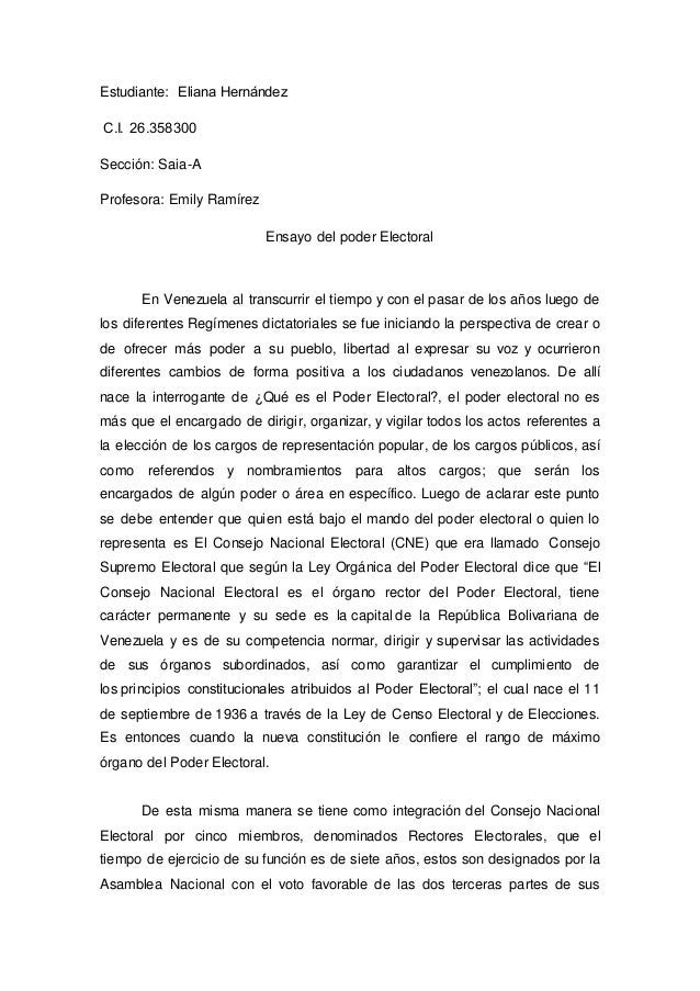Estudiante: Eliana Hernández C.I. 26.358300 Sección: Saia-A Profesora: Emily Ramírez Ensayo del poder Electoral En Vene...
