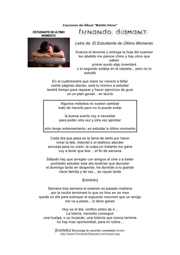 """Canciones del Álbum """"Maldito Héroe""""  ESTUDIANTE DE ULTIMO      MOMENTO                             Letra de: El Estudiante..."""