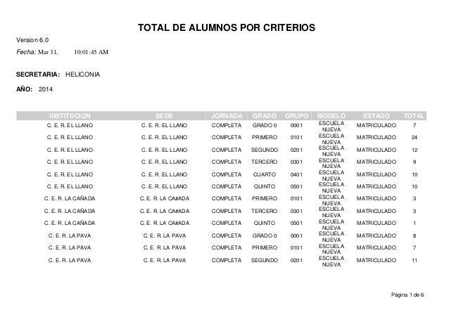 TOTAL DE ALUMNOS POR CRITERIOS Version 6.0 Mar 31,Fecha: 10:01:45 AM SECRETARIA: AÑO: HELICONIA 2014 ESTADOINSTITUCION SED...