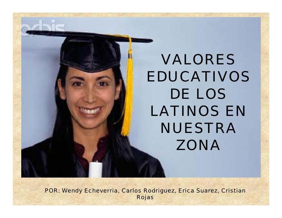 Valores educativos de los latinos en nuestra zona