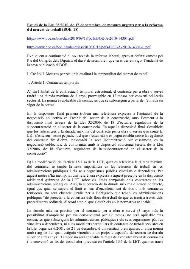Estudi de la Llei 35/2010, de 17 de setembre, de mesures urgents per a la reforma del mercat de treball (BOE, 18) http://w...