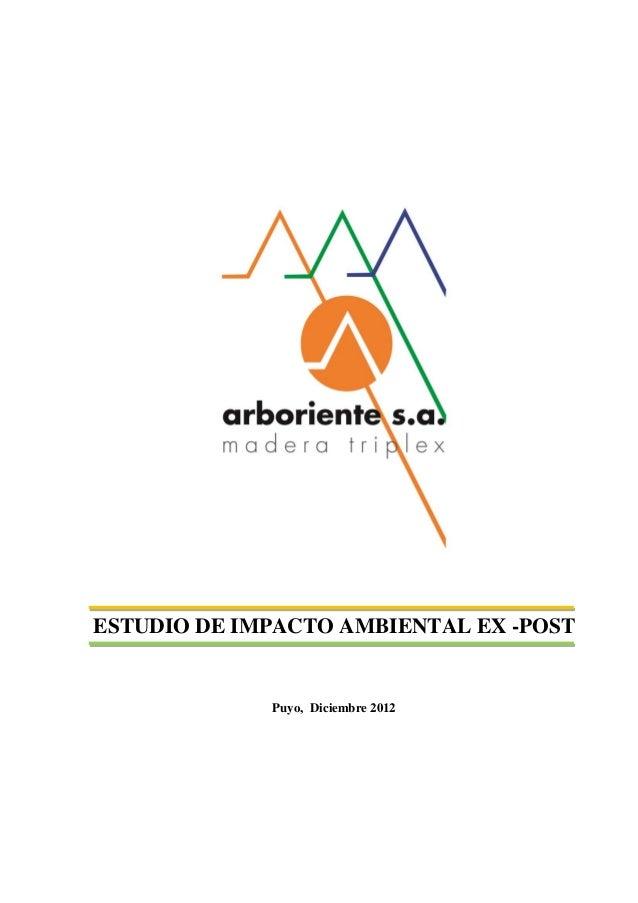ESTUDIO DE IMPACTO AMBIENTAL EX -POST  Puyo, Diciembre 2012