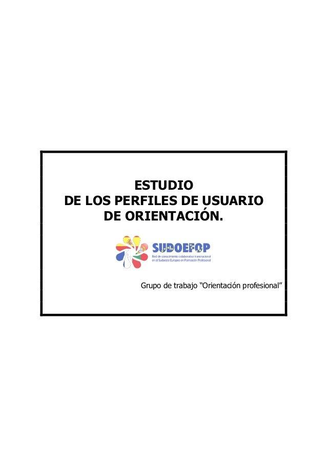 """ESTUDIO DE LOS PERFILES DE USUARIO DE ORIENTACIÓN.  Grupo de trabajo """"Orientación profesional"""""""