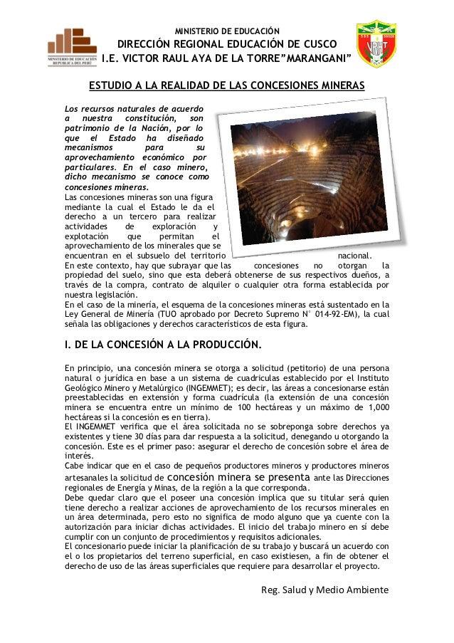 """MINISTERIO DE EDUCACIÓN            DIRECCIÓN REGIONAL EDUCACIÓN DE CUSCO         I.E. VICTOR RAUL AYA DE LA TORRE""""MARANGAN..."""